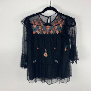 Zara Sheer mesh ruffle top embroidered floral